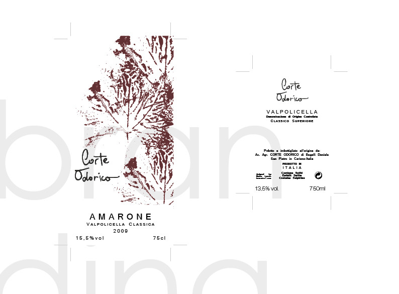 Wine labels of Valpolicella Corte Odorico di Nicodemo Begalli